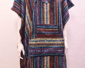 Boho Hippie Reversible hooded pocket nomad aztec striped poncho freesize beige