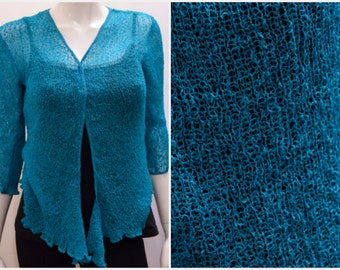 Boho chic crochet style knit shrug cardigan Dark Teal onesize 10 12 14 16 18 20