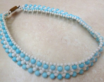 Vintage Blue And White Beaded Bib Collar 60's Necklace.