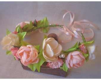 Floral head wreath, wedding floral crown, bridal crown FREE SHIPPING