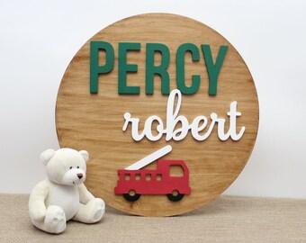 Firetruck Nursery, Baby Boy Nursery Decor, Wooden Names, Shower Gift, Round Wood Sign, Nursery Wall Letters Decor, Kids Name Room Decor