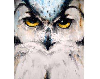 Great Horned Owl Portrait Painting Original Watercolor Painting Bird artwork Nature Animal Wildlife Wall Art 16.5x12.9in