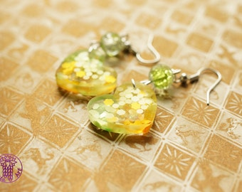 Yellow and Green Heart Earrings - Nickel free