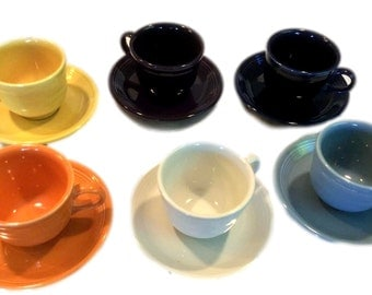Homer Laughlin Fiesta Ware Cup and Saucer Assorted Colors Set of 6 - Vintage Kitchen - Mid Century - c