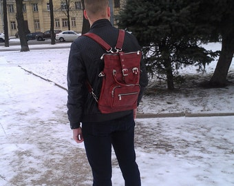 Backpack-bag leather