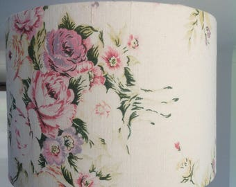 Lamp shade recovered vintage linen with fabulously faded cabbage roses pinks greens and faded yellow on creamy background