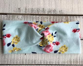 Mint Floral Headband, Turban Headband, Wide Headband, Adult Headband, Floral Headband, Twist Headband