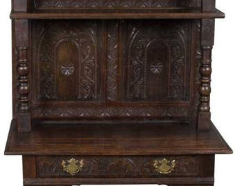 William And Mary Style Antique Carved Hutch