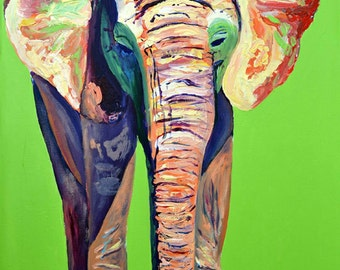 Zuri green elephant, hogle zoo, original artwork, elephants, green, africa, zoo, art deco, elephantes, india, acrylic painting, animal,verde