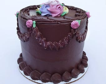 6 Inch Chocolate Rosebud Fake Cake