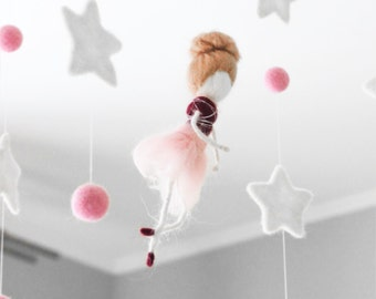 Ballerina Baby Mobile, Needle Felted Fairy Baby Mobile, Baby Doll Nursery Decor, Baby Shower Gift