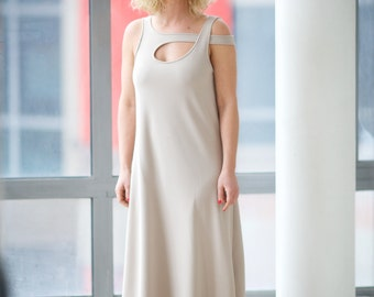 Maxi Long Dress, Beige Dress, Sleeveless Dress, Tank Dress, Plus Size Dress, Open Back Dress, Bridesmaid Dress, Floor Length Dress