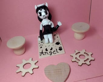 Bendy and the Ink Machine, Alice angel, polymer clay, sculpture/cake topper