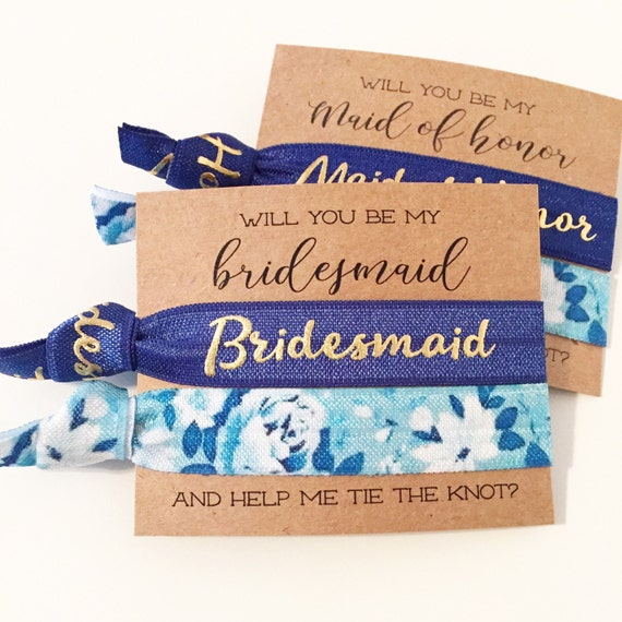 Bridesmaid Proposal Hair Tie Gift | Blue Floral Hair Tie Bridesmaid Gift, Navy Blue Floral Hair Ties, Bridesmaid Proposal Card + Gift