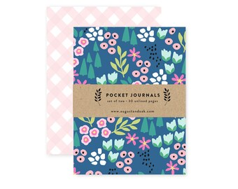 Navy Floral - Pocket Journal Set of 2