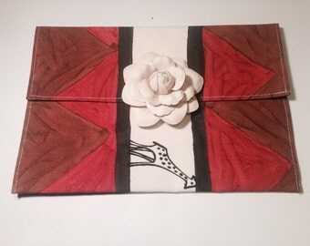 Ethnic Print Clutch with Flower