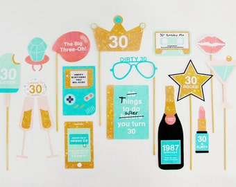 30th Birthday Props, 1987, 30th Photo Booth Props Printable, Mint, Aqua, Gold | INSTANT DOWNLOAD