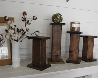 Farmhouse candle holder- wood decor- candle holder - stained wood decor- farmhouse decor