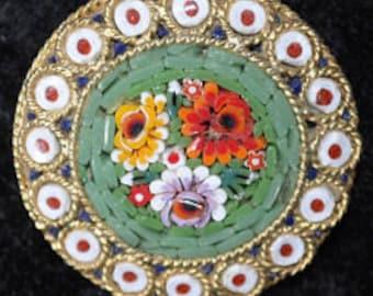 1950s Circular Roman Micro Mosaic Brooch