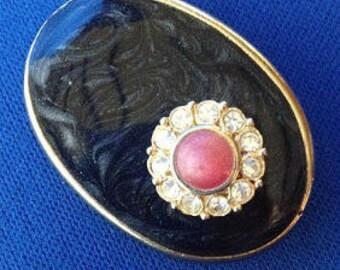 Floridan Blue Enamel & Diamante Flower Scarf Clip – Brooch – Pendant - Earring