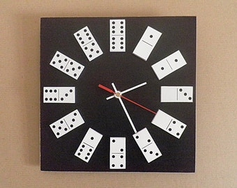 Domino clock. Black or white colour domino clock, office wall clock, Housewares, unique wall clock, gift for men, wooden wall clock, clock.