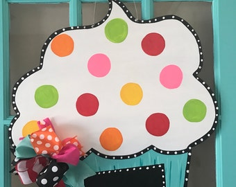 Whimsical Chalkboard Birthday Cupcake Door Hanger