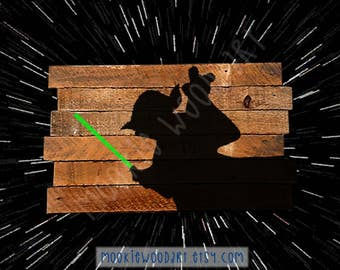 Yoda with lightsaber painting on reclaimed wood - jedi - Star Wars - unique star wars gift - master yoda