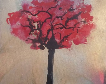 The Giving Tree, pink brown art , Print of Original acrylic painting on canvas, tree of life painting, gift for dad, housewarming gift
