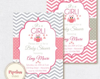 Baby Shower Invitation. Baby girl. Chevron style babyshower invitation. Owl babyshower. Printable