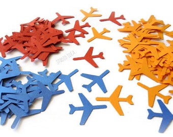 120 Primary Colors Medium Airplane Cut outs, Die cut, Confetti, Embellishments or CHOOSE YOUR COLORS - Set of 120 pcs