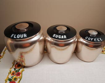 Kromex Canisters, Vintage Spun Aluminum Canisters