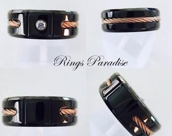 Wedding Band, Wedding Rings, Black Titanium Ring, Titanium Wedding Band, Titanium Ring, Custom Ring, Rose Gold Rope, Mens Engagement Ring