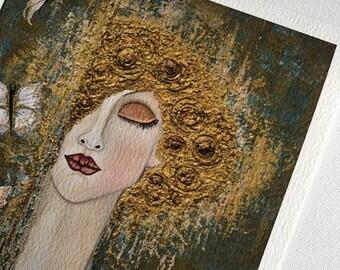 "Fine art print Giclee paper signed by the artist 8"" x 10"" ready to frame ""Bliss"" Portrait by Deborah Bowe DCBArtstudio"