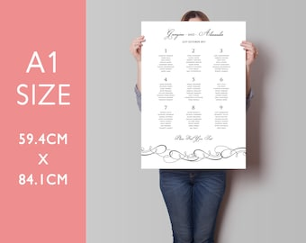 Wedding Seating Chart, Wedding Seating Plan, Wedding Table Plan, A1 and A2 size