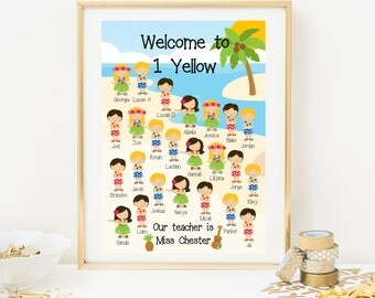 Hula Classroom Welcome Poster - Teaching Resource - Personalised With Students Names - Classroom Decoration