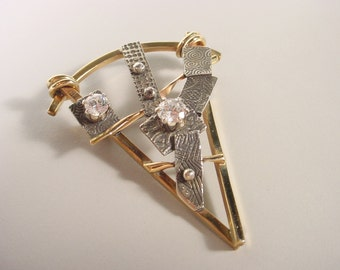 Small Triangle Pin Sculpural Design in Gold Filled Wire, Fused Sterling Silver and CZ