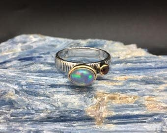 Opal with Garnet Ring // 925 Sterling Silver with Gold Accent // Hand Cast // Opal Ring // Size 8