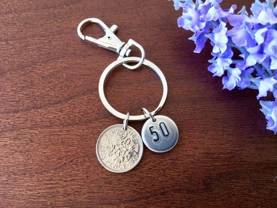 Wedding Present For 50 Year Old : for men, 50 year old birthday key ring 50th wedding gift, 50th gift ...