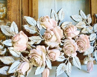 Shabby Brocante Rose Wall Decor/Romantic Wedding Decor/Shabby Chic Home Decor/Repurposed Vintage Syroco/Handpainted,Upcycled In  Pink White