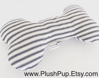 Plush dog bone toy , Plush Squeaker dog bone toy in Ticking, dog toys, Dog bones, Dog treats, Christmas gift for dogs