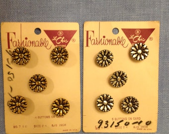 Black and Gold or Black and Silver Metal Daisy Buttons