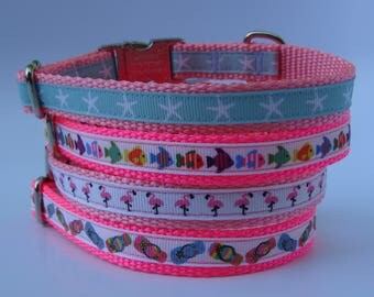 XS Dog Nautical Beach Vacation Dog Collar - Pink - Starfish, Coral Reef Fish, Flamingo, Flip Flop with Metal Buckle - Ready to ship!