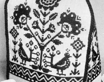 cross stitch blackwork tea cosy cozy pattern pdf instant download cross stitch chart & instructions 30cm deep, 69 cm around stranded cotton