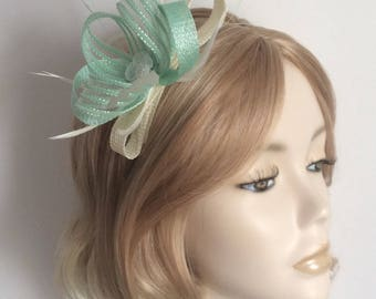 MINT GREEN and IVORY Fascinator , Made of Sinamay, Swiss ribbon,  feathers,on a headband