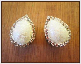 "Glitter Pearl and Rhinestone Teardrop Wedding EAR TUNNEL PLUG Earrings pick gauge 2g 0g 00g 1/2"" 9/16"" 5/8"" aka 6mm 8mm 10mm 12mm 14mm 16mm"