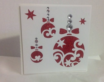 1 Sparkle Red Christmas Balls Card , Rhinestones , Personalize , Foil Writing , Holidays , Decorations , Cheer , Joy