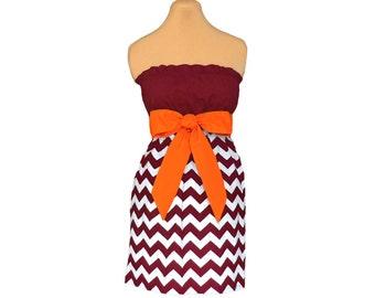 Orange + Maroon Chevron Game Day Dress