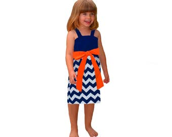 Orange + Navy Chevron Game Day Dress- Girls