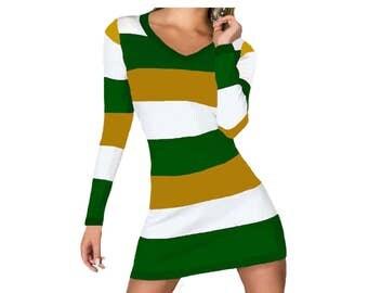 Green + Gold Stripe Spirit Dress