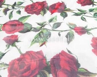 Red rose white light chiffon fabric #1626